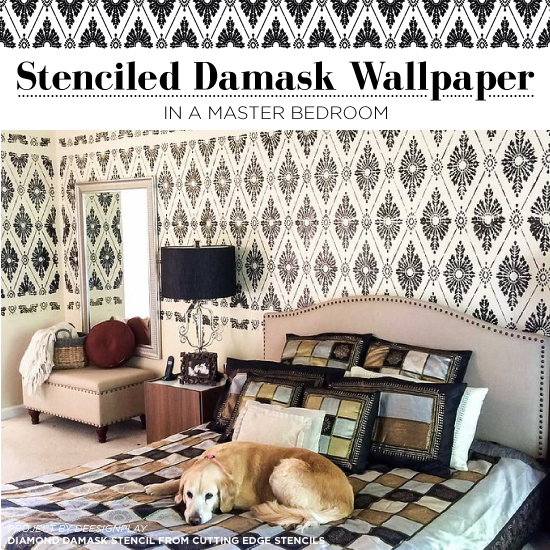 Stenciled Damask Wallpaper In A Master Bedroom - Stencil Stories