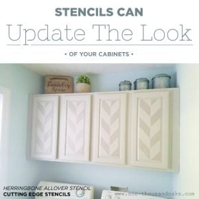 Cutting Edge Stencils shares painted and stenciled cabinets in a laundry room using the Herringbone Allover Stencil. http://www.cuttingedgestencils.com/herringbone-stencil-pattern.html