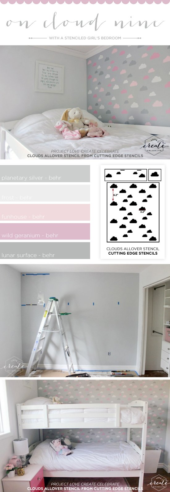 on cloud nine with a stenciled girls bedroom a stencil stori