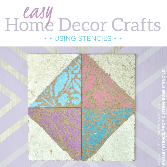 Cutting Edge Stencils shares simple stenciled craft ideas including a rustic outdoor sign and cork coasters. http://www.cuttingedgestencils.com/wall-stencils-stencil-designs.html