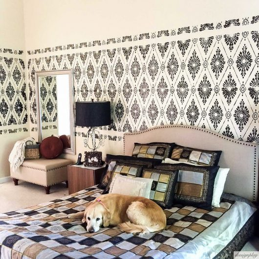 A DIY black and beige stenciled master bedroom with a wallpaper look using the Diamond Damask Stencil from Cutting Edge Stencils. http://www.cuttingedgestencils.com/damask-stencil-pattern.html