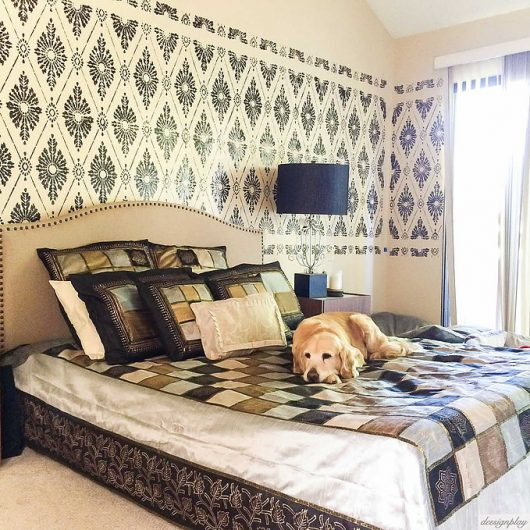 A DIY Black And Beige Stenciled Master Bedroom With A Wallpaper Look Using  The Diamond Damask