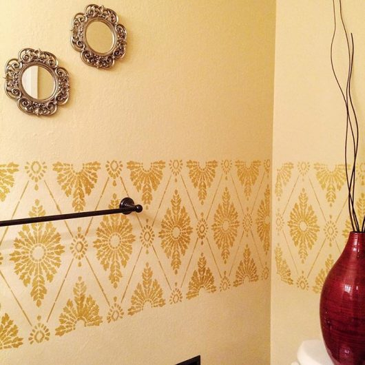 A stenciled gold bathroom using the Diamond Damask Allover Stencil from Cutting Edge Stencils. http://www.cuttingedgestencils.com/damask-stencil-pattern.html