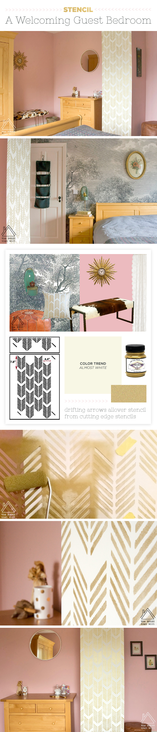 stencil a welcoming guest bedroom stencil stories cutting edge stencils shares a diy stenciled accent wall in metallic gold in a guest bedroom