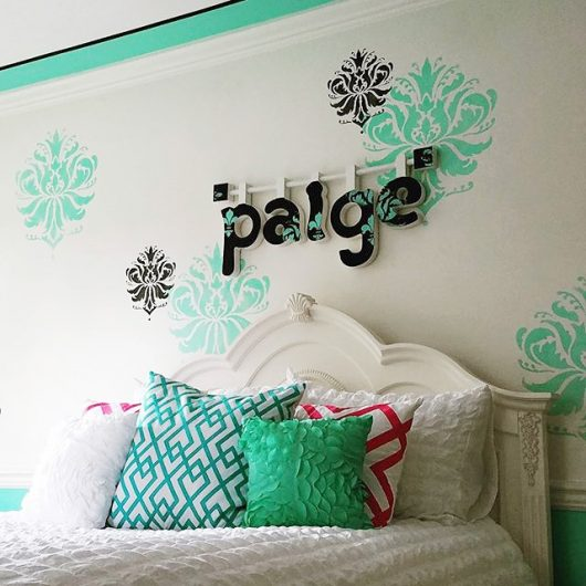 A DIY stenciled teen girl bedroom using the Gabi's Brocade Stencil from Cutting Edge Stencils. http://www.cuttingedgestencils.com/wallpaper-damask-stencil.html