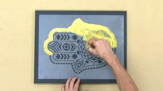 Learn How To Stencil On Canvas Using The Hamsa Hand A Mandala Pattern