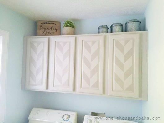 DIY stenciled laundry room cabinets using the Herringbone Allover Stencil from Cutting Edge Stencils. http://www.cuttingedgestencils.com/herringbone-stencil-pattern.html