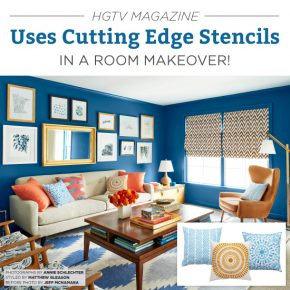 Cutting Edge Stencils has accent pillow stencil kits that are featured in HGTV Magazine in a living room makeover. http://www.cuttingedgestencils.com/accent-pillow-stencil-kits.html