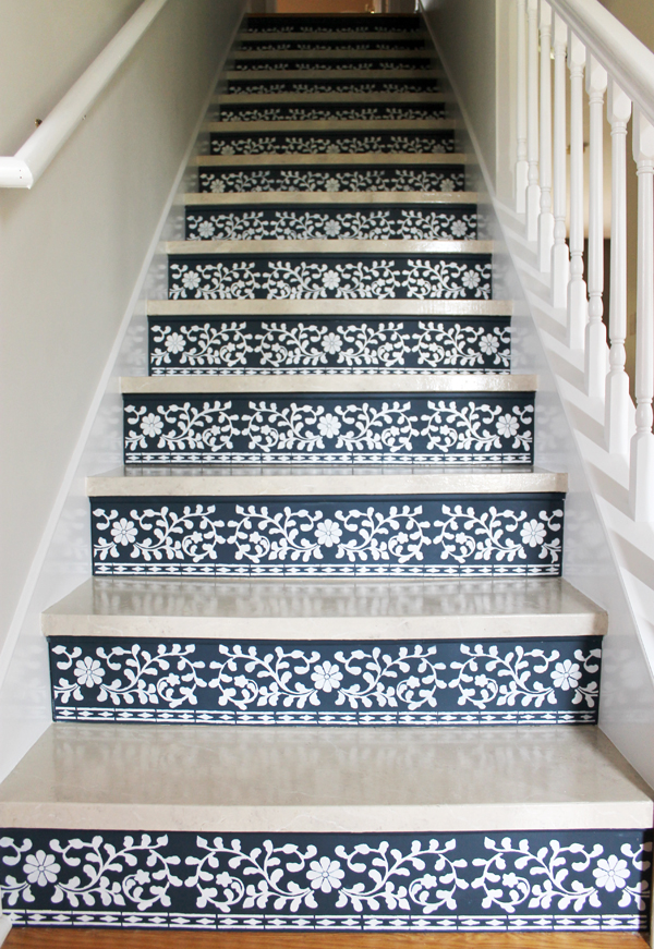 stenciled stairs worth staring at stencil stories stencil stories. Black Bedroom Furniture Sets. Home Design Ideas