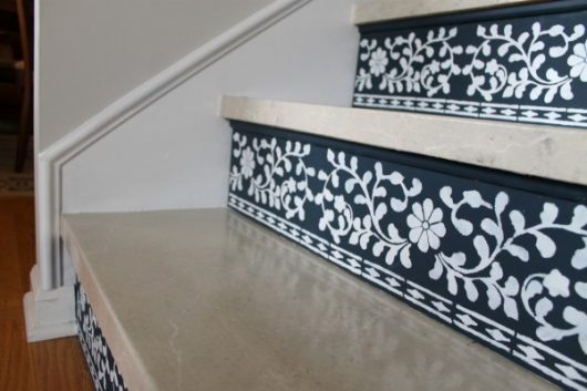 DIY stenciled stair risers using the Indian Inlay Stencil kit designed by Kim Myles from Cutting Edge Stencils. http://www.cuttingedgestencils.com/indian-inlay-stencil-furniture.html
