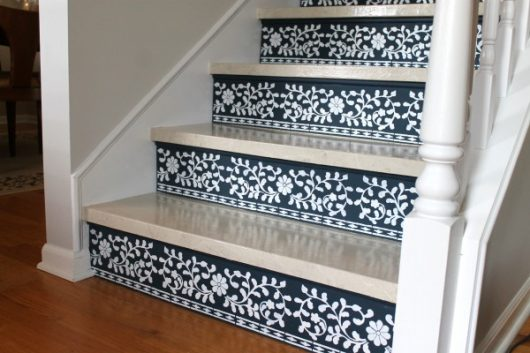 A stencil tutorial on how to paint stair risers using the Indian Inlay Stencil kit designed by Kim Myles from Cutting Edge Stencils. http://www.cuttingedgestencils.com/indian-inlay-stencil-furniture.html