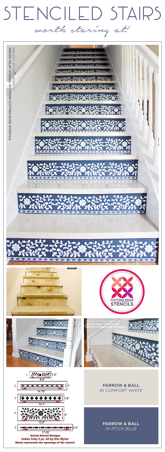 Cutting Edge Stencils Shares How To Stencil Stair Risers Using The Indian  Inlay Stencil Kit From