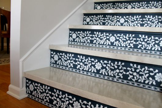 Learn How To Stencil Stair Risers Using The Indian Inlay Stencil Kit  Designed By Kim Myles