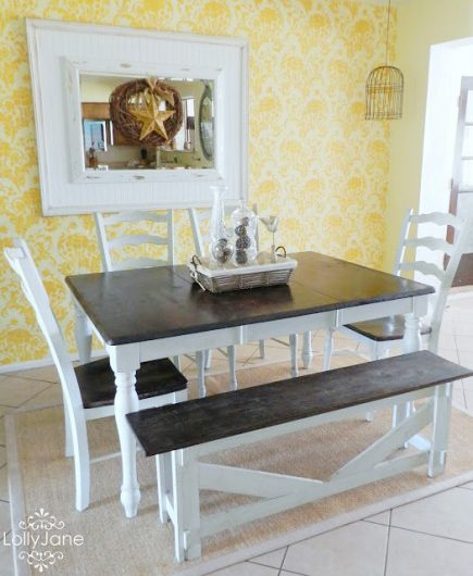 A DIY Stenciled Dining Room Accent Wall Using The Julia Allover Pattern
