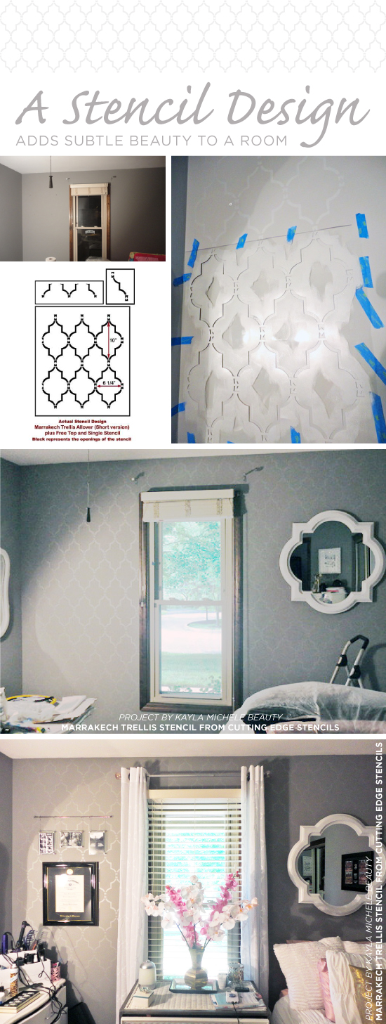 Cutting Edge Stencils shares a DIY stenciled bedroom accent wall makeover using the Marrakech Trellis Allover Stencil. http://www.cuttingedgestencils.com/moroccan-stencil-marrakech.html