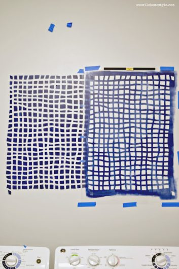 Stenciling an accent wall in a laundry room using the Mesh Allover Stencil, a popular geometric grid wall pattern, from Cutting Edge Stencils in Glidden Rich Navy and Silvery Moonlight. http://www.cuttingedgestencils.com/mesh-contemporary-stencil-grid-pattern.html