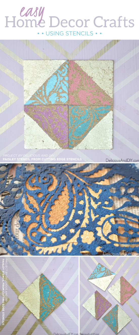 DIY stenciled cork coasters using the Paisley Craft Stencil from Cutting Edge Stencils. http://www.cuttingedgestencils.com/paisley-pattern-craft-stencils-for-home-decor-projects.html