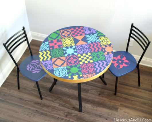 A stenciled table using the Patchwork Tile Stencil Pattern from Cutting Edge Stencils. http://www.cuttingedgestencils.com/patchwork-tile-pattern-stencil-wall-tiles.html