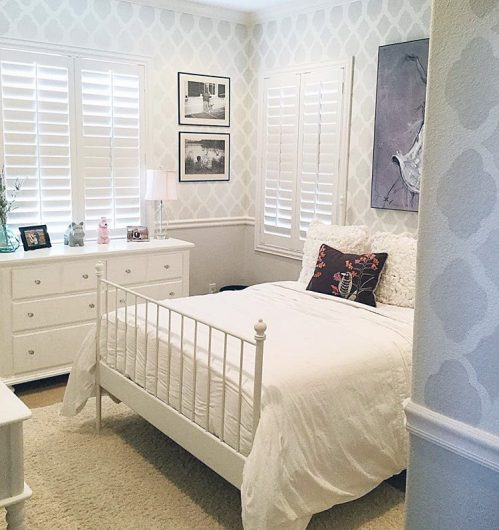 A stenciled gray and white bedroom using the Rabat Allover wall pattern from Cutting Edge Stencils for a wallpaper look. http://www.cuttingedgestencils.com/moroccan-stencil-pattern-3.html