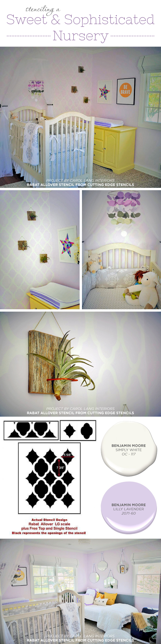 Cutting Edge Stencils shares a DIY stenciled nursery accent wall using the Rabat Allover, a popular Moroccan wall pattern. http://www.cuttingedgestencils.com/moroccan-stencil-pattern-3.html
