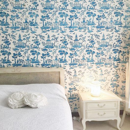 A stenciled bedroom accent wall using the Secret Garden Toile Stencil from Cutting Edge Stencils for a wallpaper look. http://www.cuttingedgestencils.com/garden-toile-stencil-chinoiserie-wallpaper.html
