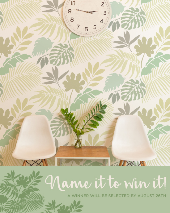 Help Cutting Edge Stencils name this new wall stencil pattern for a chance to win the stencil FREE! http://www.cuttingedgestencils.com/blog/name-it-to-win-it-a-tropical-foliage-stencil.html