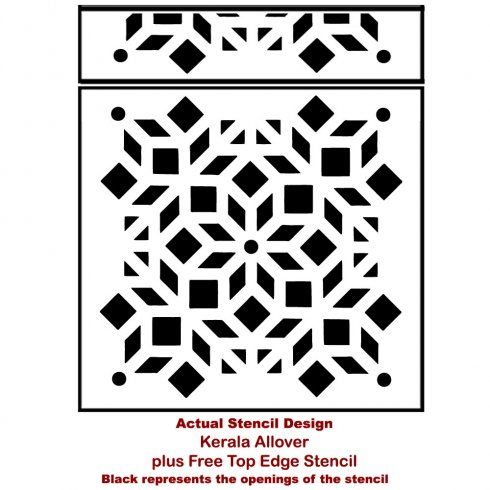 The Kerala Allover Stencil, a geometric Indian inspired wall pattern, from Cutting Edge Stencils. http://www.cuttingedgestencils.com/kerala-indian-stencil-geometric-pattern-stencils.html