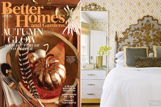 Better Homes and Gardens features a bedroom accent wall using the Alexa Allover Stencil, a geometric wall pattern, from Cutting Edge Stencils. http://www.cuttingedgestencils.com/alexa-allover-wall-pattern.html
