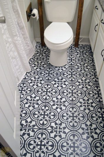 how to stencil a tile pattern on a bathroom floor. Black Bedroom Furniture Sets. Home Design Ideas