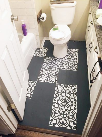 Learn how to stencil a tile pattern on a bathroom linoleum floor using the Augusta Tle Stencil. http://www.cuttingedgestencils.com/augusta-tile-stencil-design-patchwork-tiles-stencils.html