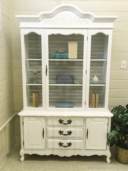 A DIY painted and stenciled hutch using the Beads Furniture Stencil from Cutting Edge Stencils. http://www.cuttingedgestencils.com/beads-craft-stencils-DIY-home-decor.html