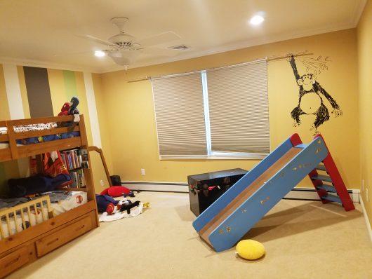 A shared boys bedroom before its stenciled makeover. http://www.cuttingedgestencils.com/tribal-arrow-pattern-stencils-wall-decor.html