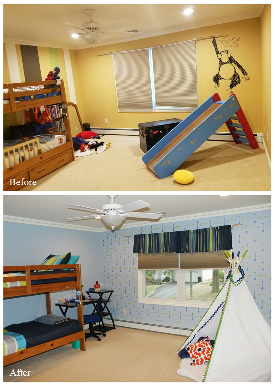 A before and after of a stenciled boys bedroom makeover using the Tribal Arrows Allover Stencil from Cutting Edge Stencils on an accent wall. http://www.cuttingedgestencils.com/tribal-arrow-pattern-stencils-wall-decor.html