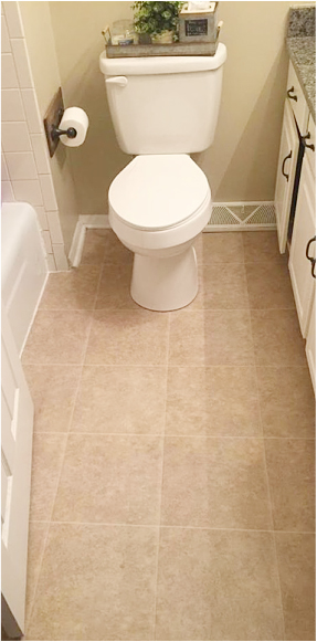A before photo of a guest bathroom before the tile floor was stenciled. http://www.cuttingedgestencils.com/augusta-tile-stencil-design-patchwork-tiles-stencils.html