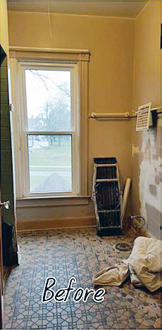 A guest bathroom before its stenciled makeover. http://www.cuttingedgestencils.com/stencil-nautical-decor.html