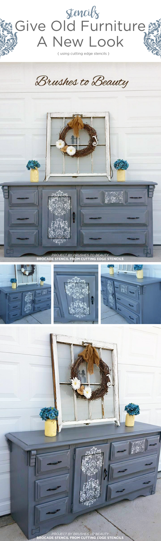 Cutting Edge Stencils Shares A Diy Painted And Stenciled Dresser Project Using The Brocade No