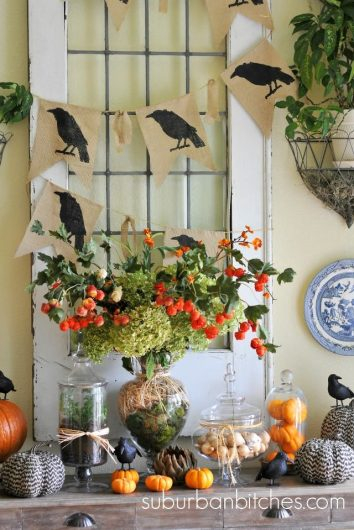 A DIY stenciled burlap banner for Halloween using the Crow Craft Stencil from Cutting Edge Stencils. http://www.cuttingedgestencils.com/halloween-stencils-crow-stencil-design-diy-craft.html