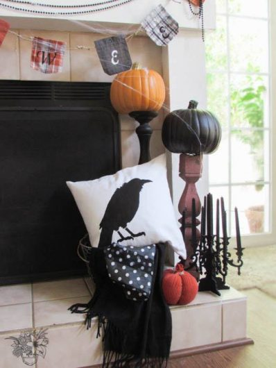 A DIY Halloween stenciled accent pillow using the Crow Stencil from Cutting Edge Stencils. http://www.cuttingedgestencils.com/crow-stencil-design-halloween-home-decor-diy-pillow-kit.html