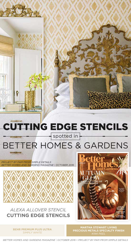 Better Homes and Gardens features a stenciled cottage bedroom using the Alexa Allover Stencil from Cutting Edge Stencils. http://www.cuttingedgestencils.com/alexa-allover-wall-pattern.html
