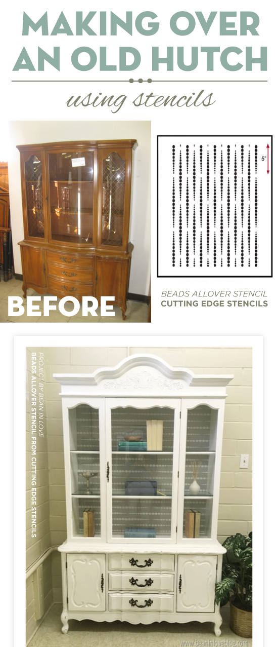 Cutting Edge Stencils shares a DIY stenciled hutch makeover using the Beads Furniture Stencil, a modern geometric pattern. http://www.cuttingedgestencils.com/beads-craft-stencils-DIY-home-decor.html