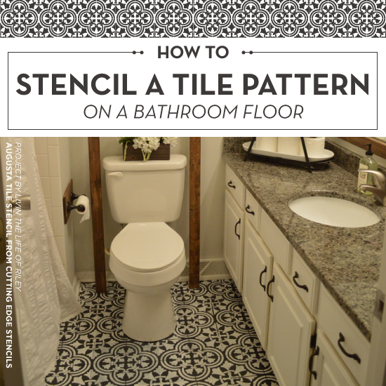 how to stencil a tile pattern on a bathroom floor stencil stories stencil stories. Black Bedroom Furniture Sets. Home Design Ideas