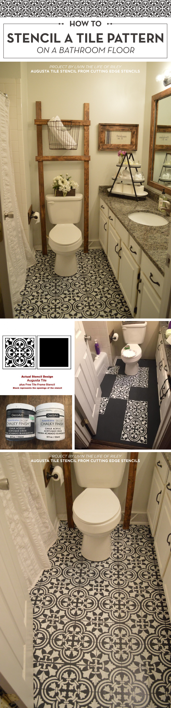How To Stencil A Tile Pattern On A Bathroom Floor - Stencil ...