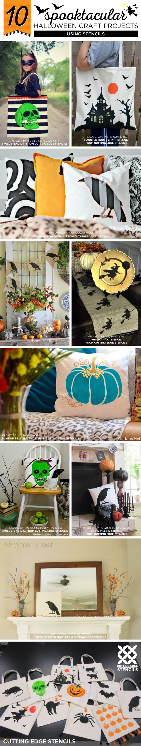 Cutting Edge Stencils shares easy and fun DIY Halloween craft projects using stencil patterns. http://www.cuttingedgestencils.com/halloween-stencils-pumpkin-stencil-stenciled-tote.html