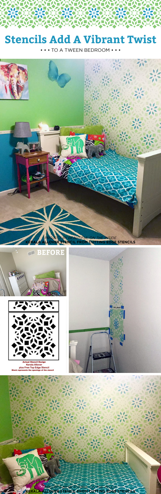 Cutting Edge Stencils shares a DIY stenciled tween bedroom makeover using the Kerala Allover Stencil. http://www.cuttingedgestencils.com/kerala-indian-stencil-geometric-pattern-stencils.html