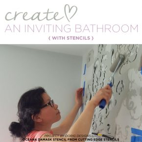 Cutting Edge Stencils shares a DIY bathroom makeover using the Oceana Damask wall pattern for a wallpaper look. http://www.cuttingedgestencils.com/stencil-nautical-decor.html