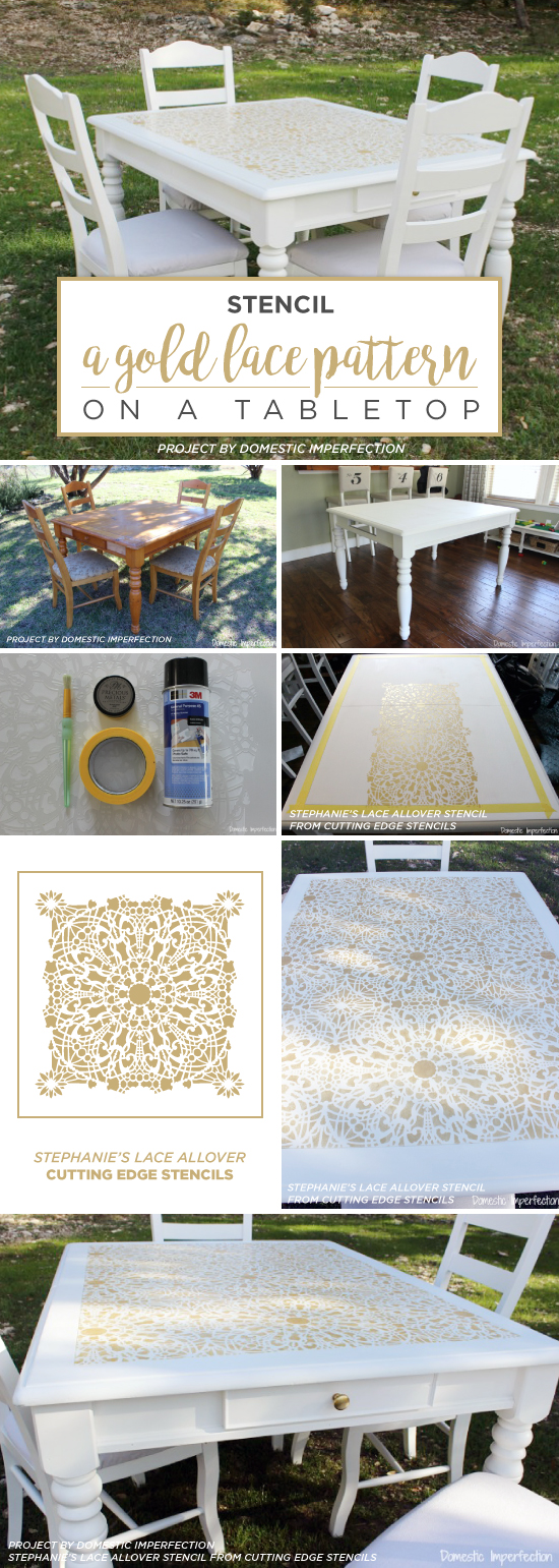Cutting Edge Stencils shares a DIY stenciled table using the Stephanie's Lace Allover Stencil pattern in metallic gold. http://www.cuttingedgestencils.com/lace-stencil-wall-decor-stencils.html