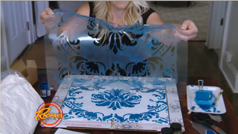 Learn how to stencil a DIY accent pillow using the Gabrielle Damask Accent Pillow Stencil Kit from Cutting Edge Stencils and Paint-A-Pillow as seen on the Rachael Ray Show. http://www.cuttingedgestencils.com/gabrielle-damask-stencils-paint-a-pillow-kit.html