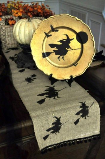 A DIY Halloween stenicled table runner using the Witch Craft Stencil from Cutting Edge Stencils. http://www.cuttingedgestencils.com/halloween-design-witch-stencil-diy-craft-design.html
