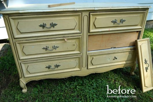 A French Provincial dresser before its stenciled makeover. http://www.cuttingedgestencils.com/rabat-furniture-fabric-stencil.html
