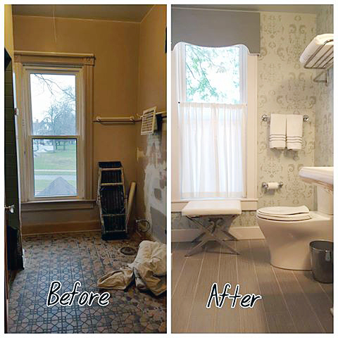 A before and after of a gray stenciled guest bathroom using the Oceana Damask Stencil from Cutting Edge Stencils. http://www.cuttingedgestencils.com/stencil-nautical-decor.html